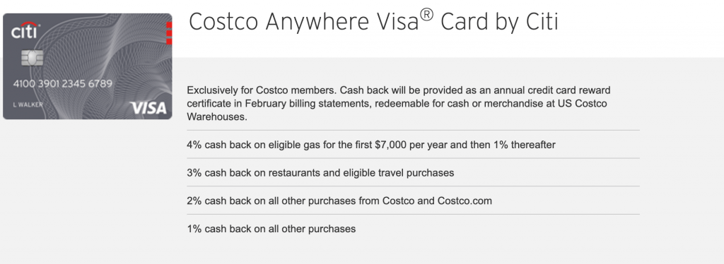 Costco Anywhere Visa Card Login page