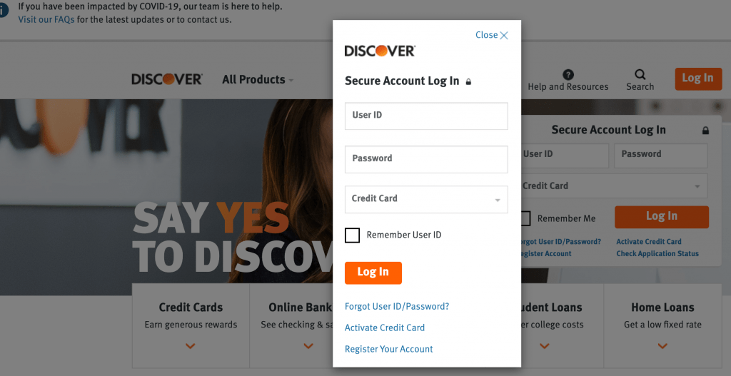 Discovery Credit Card login
