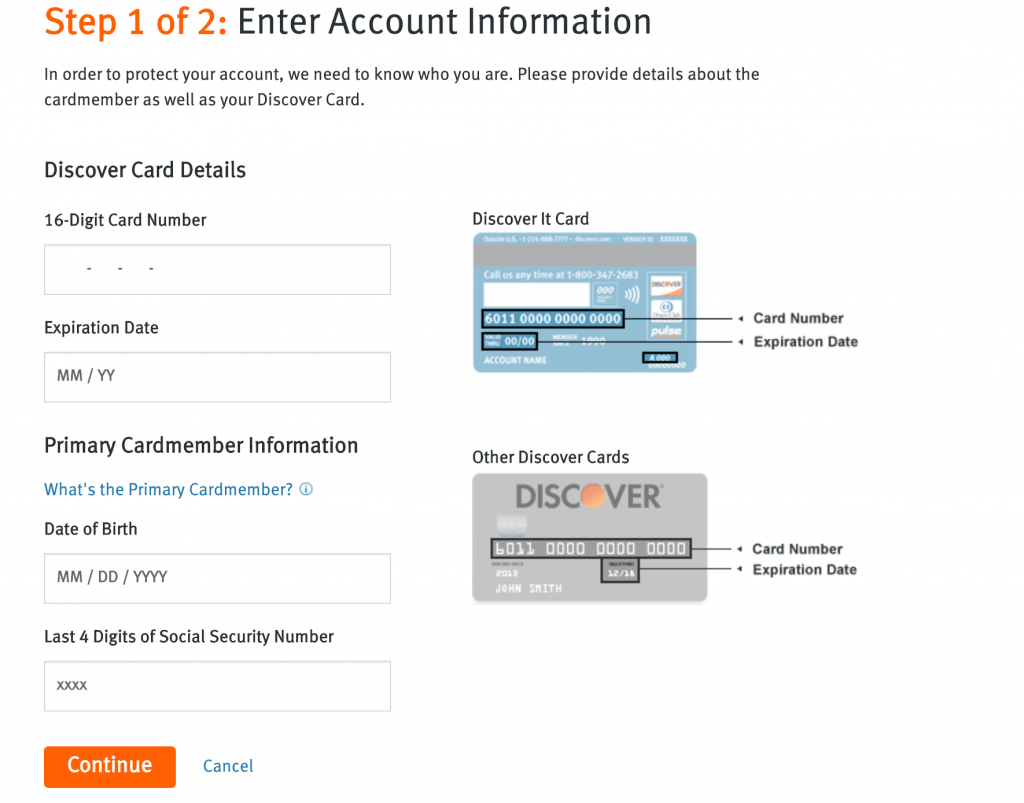 Register Discovery Credit card page