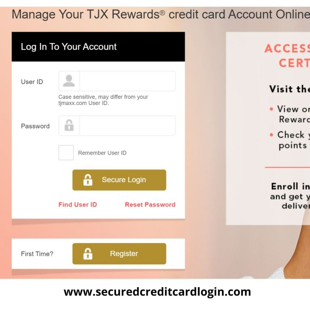 TJ MAXX credit card login