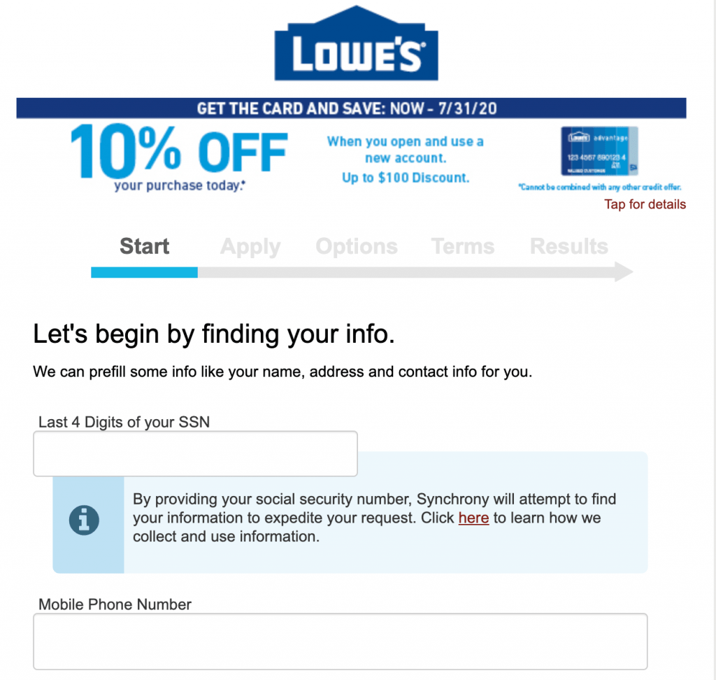 apply lows credit card