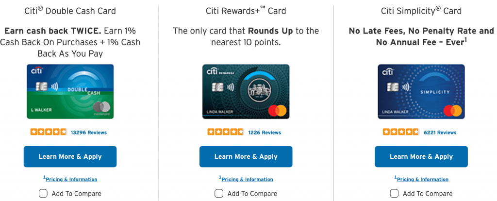 citi bank best credit cards
