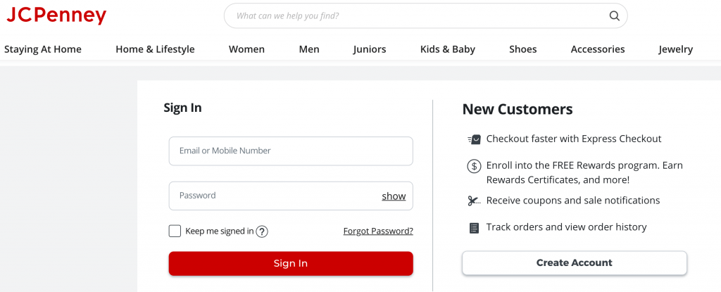 jcpenny credit card login page