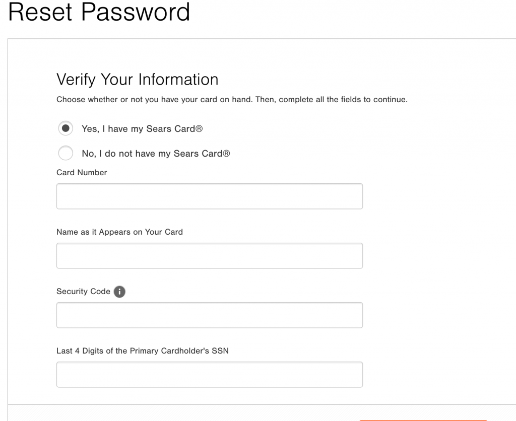reset forgot password of sears credit card